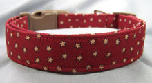 Antique Stars on Burgundy Dog Collar