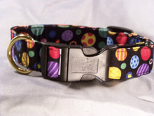 Colorful  Patterned Dots & Circles on Black Dog Collar  Shown here with upgraded brass plated D ring