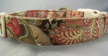 Blue and Brown Paisley Scroll Dog Collar