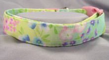 Pastel Summer Flowers on Green Dog Collar   Rescue Me Collar