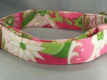 Bright Pink Flowered Dog Collar