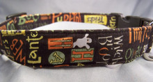 Halloween Words on Black Dog Collar