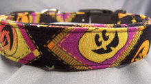 Goofy Pumpkins on Black Halloween Dog Collar