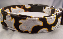 Glittering Ghosts on Black Halloween Dog Collar