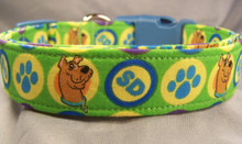 Scooby Doo on Green Licensed Fabric Dog Collar
