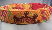 Aboriginal Floral Print on Orange Dog Collar