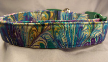 Colorful Blue and Green Swirled Dog Collar