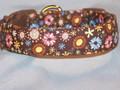 Pastel Flowers on Brown Dog Collar