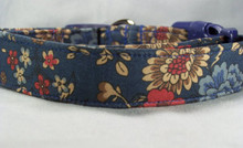 Pretty Vintage Flowers on Blue Dog Collar