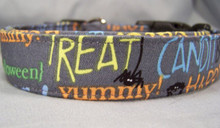 Fun Halloween Words on Gray Dog Collar Rescue Me Collar