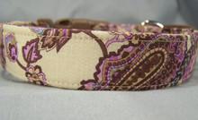 Paisley Dog Collar Beautiful Lilac on Tan
