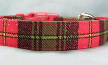 Sparkling Red and Green Plaid Christmas Dog Collar