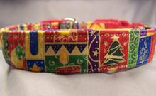 Colorful Christmas Symbols Dog Collar rescue me dog collar