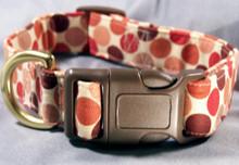 Bold Red Dots on Cream Dog Collar