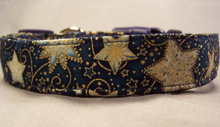 Gold Stars on Blue Dog Collar rescue me collars