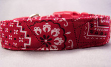 Classic Red Bandana Print Dog Collar
