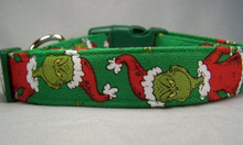 The Grinch Dog Collar   Licensed Fabric Christmas Dog Collar