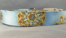 Sparkling Gold Snowflakes on Blue Winter Dog Collar