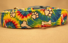 Paw Prints and Bones on Tie Dye Dog Collar Rescue Me Collars