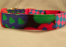 Big Colorful Hearts on Black Dog Collar