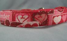 Glittering Valentine's Symbols on Red Dog Collar