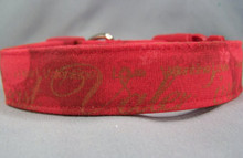 Gold Words on Red Valentine Dog Collar