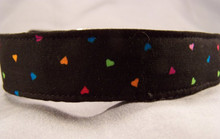 Colorful Little Hearts on Black Dog Collar