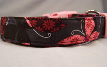 Black with Pink Butterflies Dog Collar rescue me dog collar