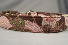 Funky Pink Paisley on Brown Dog Collar