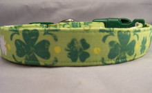 Green Shamrocks Dog Collar