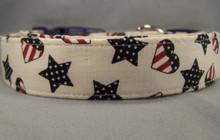 Patriotic Stars and Hearts Dog Collar
