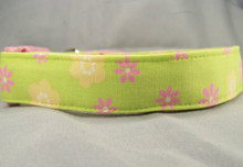 Pink and Yellow Flowers on Green Dog Collar
