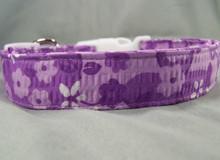 Flower Seersucker Purple Dog Collar