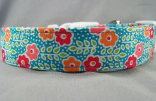 Pink, Red, and Blue Small Flowers Dog Collar