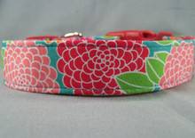 Pink, Red, and Blue Large Flowers Dog Collar