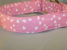 Pink with White Hearts Dog Collar Rescue Me Collars