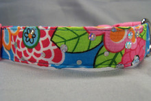 Flowers on Blue Sparkle  Dog Collar
