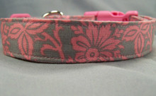 Pink Flower Scroll on Gray Dog Collar