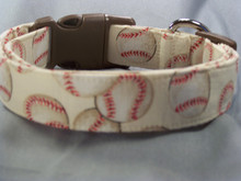 Baseball on Cream Dog Collar