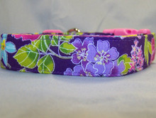 Cheerful Flowers on Purple Dog Collar