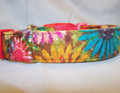 Painted Daisy Flowers on Brown Dog Collar