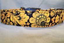 Orange Flower Scroll on Black Dog Collar