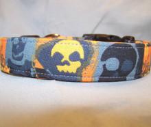 Orange and Black Batik Skull Dog Collar