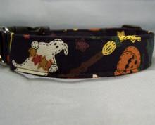 Folk Art Black Halloween Dog Collar Rescue Me Collar
