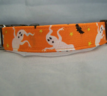 Happy Ghosts on Orange Halloween Dog Collar