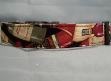Black Vintage Wine Dog Collar