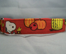 Licensed Fabric Fall Snoopy Dog Collar Rescue Me Dog Collar