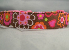 Cheerful Flowers on Brown Dog Collar rescue me ollar