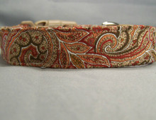 Red Brown and Tan Paisley Dog Collar