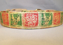Red and Green Christmas Squares Dog Collar